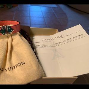 Louis Vuitton Jewelry - Authentic Louis Vuitton Pink Leather Bracelet